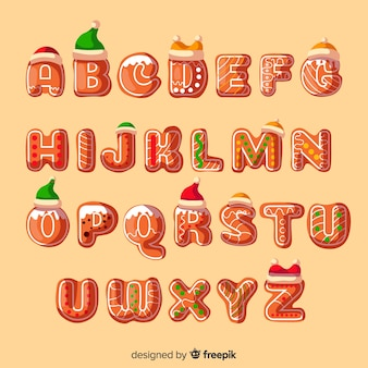 Decorated gingerbread alphabet with hats