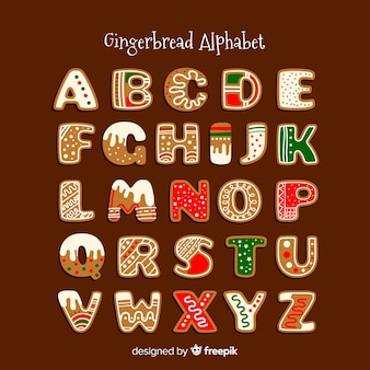 Decorated gingerbread alphabet