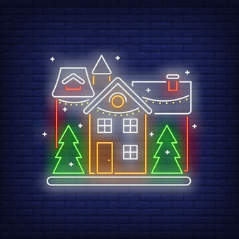 Decorated house neon sign