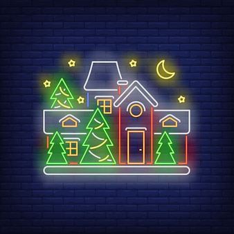 Decorated house in neon style