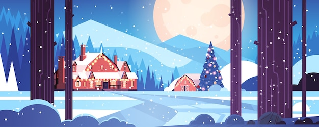 Decorated houses in night forest merry christmas happy new year holiday greeting card winter snowy panoramic landscape horizontal vector illustration