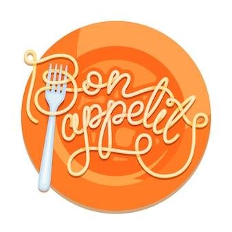 Decorated inscription bon appetit.