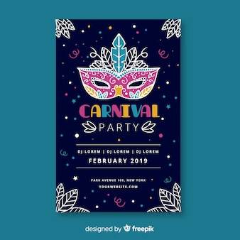 Decorated mask carnival party poster template
