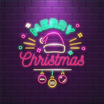 Decorated neon merry christmas text Free Vector