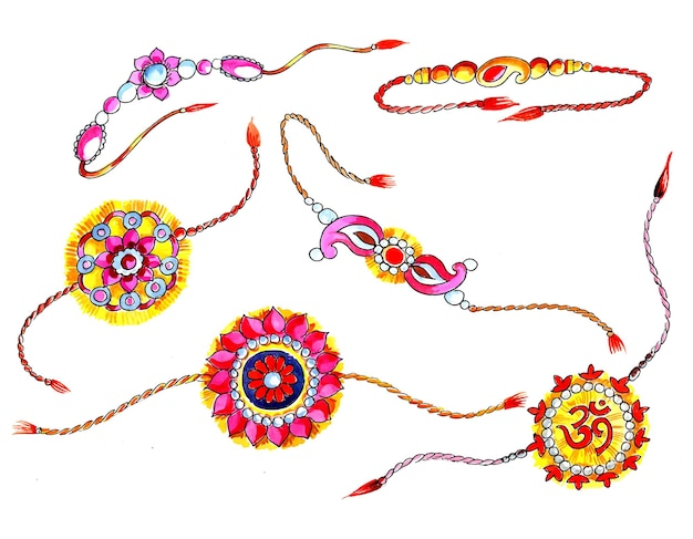 Украшенный набор рахи для индийского фестиваля дизайна ракшабандхана