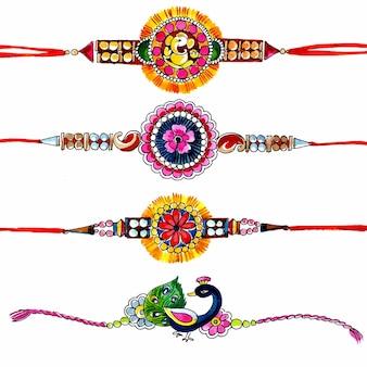 인도 축제 raksha bandhan 디자인을 위한 장식된 rakhi 세트