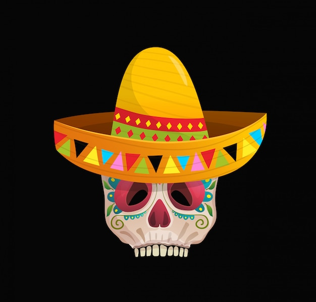 Decorated sugar skull wearing sombrero for the day of the dead