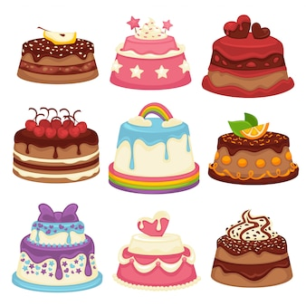 Decorated sweet festival cakes collection isolated on white.