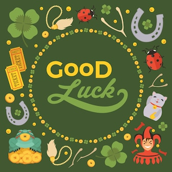 Украшать фон из lucky charms и слова good luck