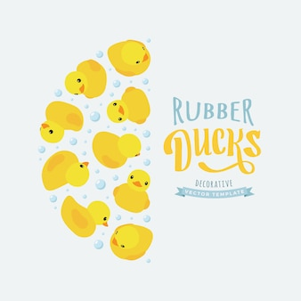 Decorating background made of yellow rubber ducks