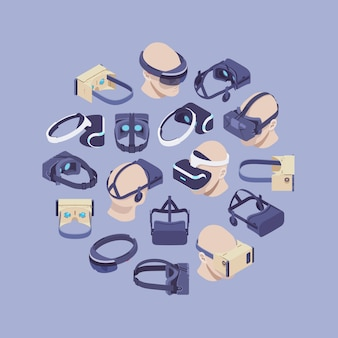 Decorating design made of isometric virtual reality headsets