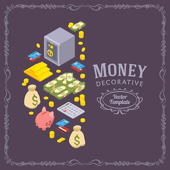 Decorating design made of objects related to finance
