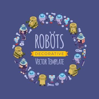 아이소 메트릭 로봇으로 만든 장식 디자인