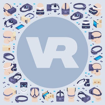 Decorating  made of isometric virtual reality headsets