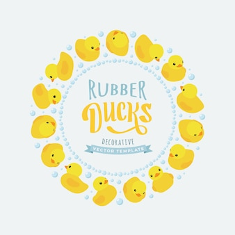 Decorating  made of yellow rubber ducks