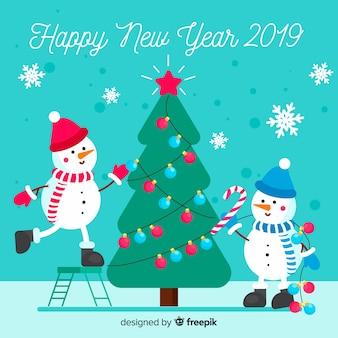 Decorating snowmen new year background