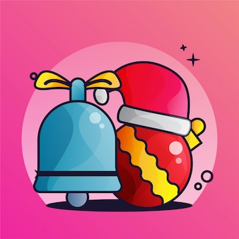 Decoration christmas bell lamp and hat illustration