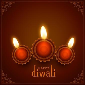 Decorazione di diyas su sfondo marrone per il festival di diwali