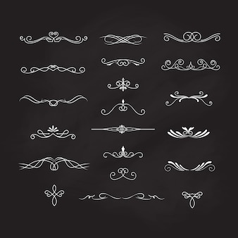 Decoration elements blackboard vintage vector calligraphic