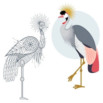 Decoration and flat crowned crane.