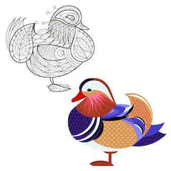 Decoration and flat mandarin duck.
