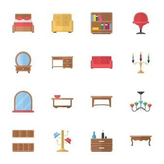 Decoration and furniture flat icons
