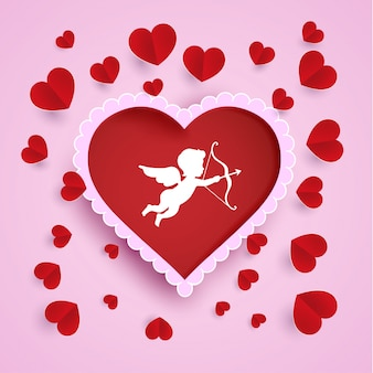 Decoration of love symbols and love angels. paper art design