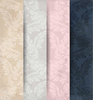 Decoration ornaments pattern set vector, classic handmade paper