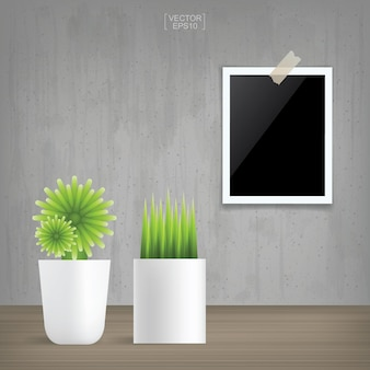 Decoration plant and blank photo frame in vintage interior space background. vector illustration.