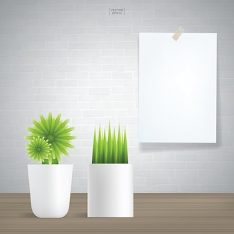 Decoration plants and white poster paper on vintage brick wall background. vector illustration.