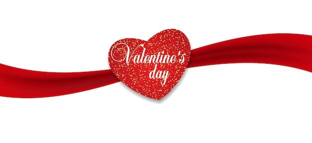 Украшение красное сердце с красной лентой на день святого валентина.
