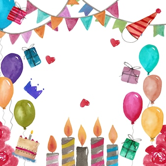 Decoration with watercoolor birthday elements