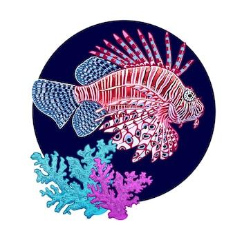 Украшение с рыбками-зебрами и кораллами