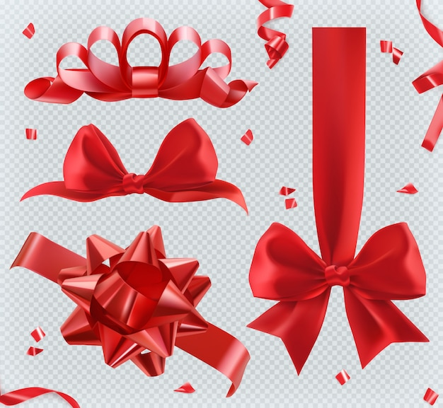 Decorations. red bows. 3d set ofs