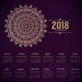 Decorative 2018 calender elegent mandala desgin with purple background
