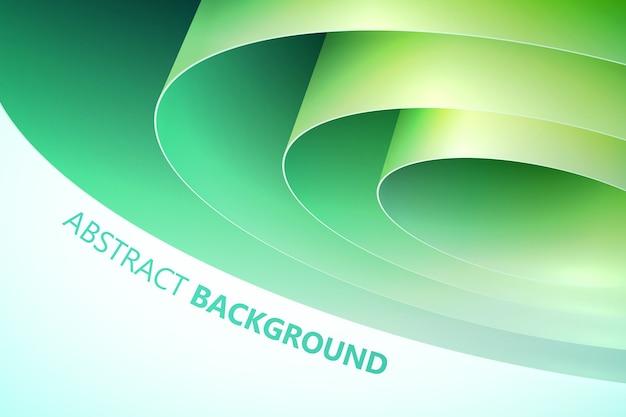 白い背景の上の緑の巻かれた包装紙と装飾的な抽象的なテンプレート