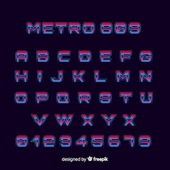 装飾アルファベットテンプレートグラデーションスタイル