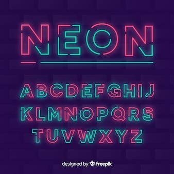 装飾的なアルファベットのテンプレートネオンスタイル
