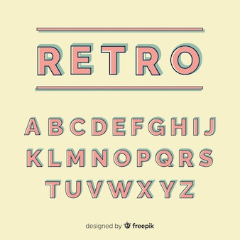 Decorative alphabet template retro stytle