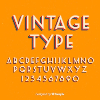 Decorative alphabet template retro stytle