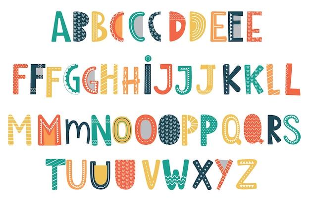 Decorative alphabet with bright colors