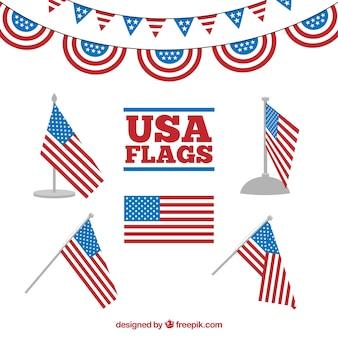 Декоративные американские флаги в плоском дизайне
