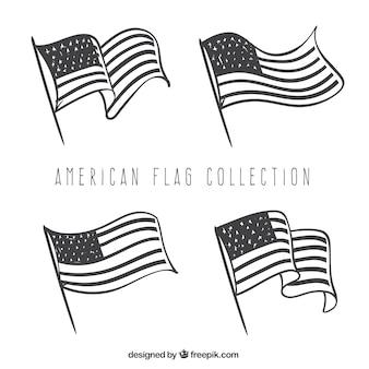 손으로 그린 스타일에서 장식 미국 국기