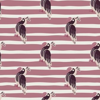 개요 앵무새 낙서 인쇄와 장식 동물 완벽 한 패턴입니다. 줄무늬 보라색 배경입니다. 직물 디자인, 직물 인쇄, 포장, 덮개에 적합합니다. 벡터 일러스트 레이 션.