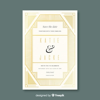 Decorative art deco wedding invitation template
