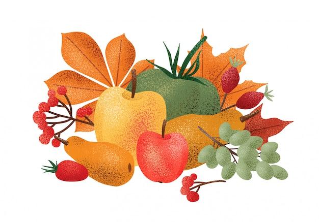 収穫された新鮮なおいしい果物、野菜、果実、白い背景で隔離の落ち葉で装飾的な秋の組成物。モダンなスタイルでカラフルなエレガントな季節のイラスト。