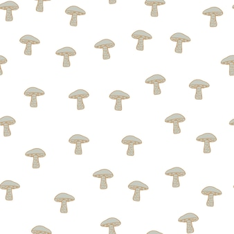 Decorative autumn seamless food pattern with isolated little beige leccinum scabrum mushroom shapes. stock illustration. vector design for textile, fabric, giftwrap, wallpapers.