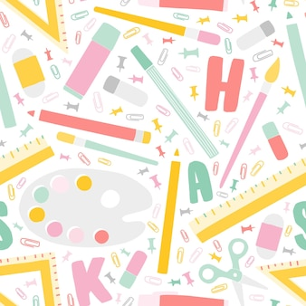 Decorative back to school seamless pattern with education supplies and alphabet letters scattered on white background. motley vector illustration in trendy flat style for textile print, backdrop.
