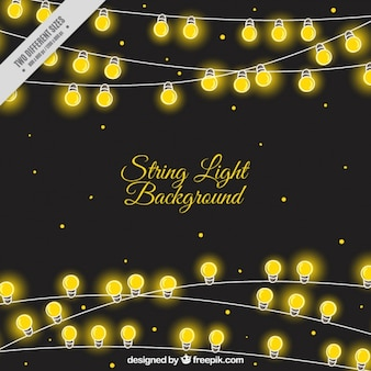 Decorative background of bright string lights