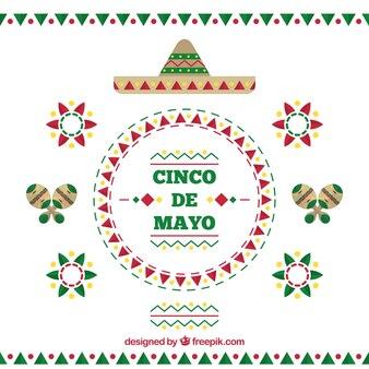 Decorative background of cinco de mayo in flat design
